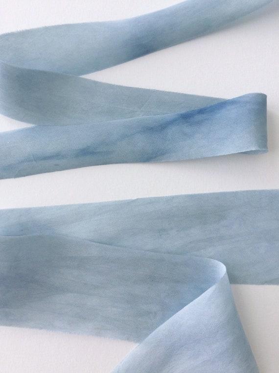INDIGO BLUE Plant Dyed Silk Ribbon — Odds Sale, Slightly Flawed