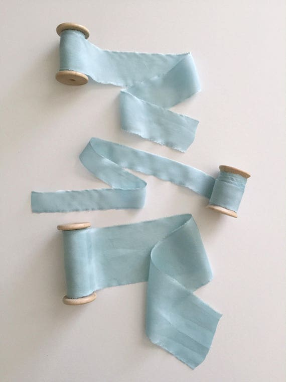 ICE BLUE Plant Dyed Silk Ribbon