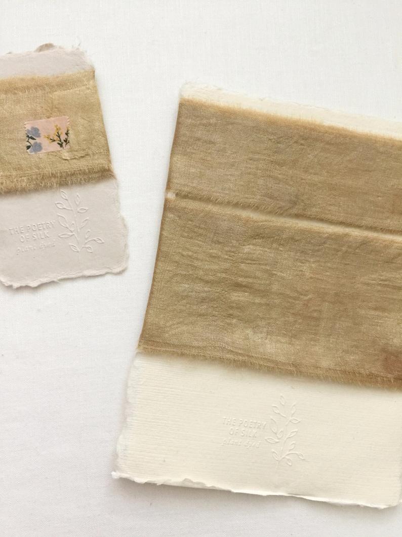 1 1.5 2.5 GOLD SET Plant Dyed Silk Ribbon image 0