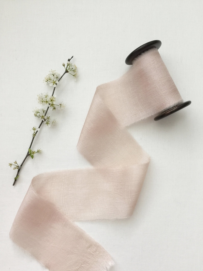 2.5 x 5 yards DUSTY PINK Plant Dyed Silk Ribbon Hand image 0