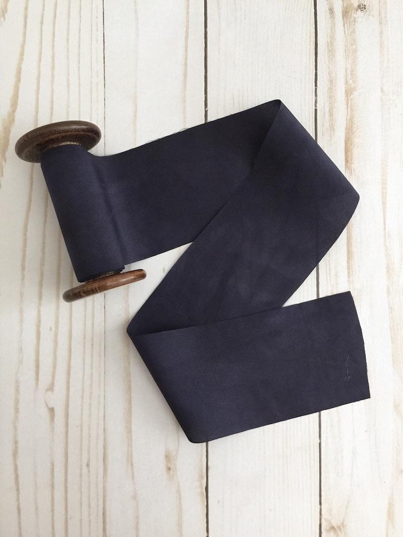 2.5 x 1.97 yards MIDNIGHT BLUE Pland Dyed Silk Ribbon image 0