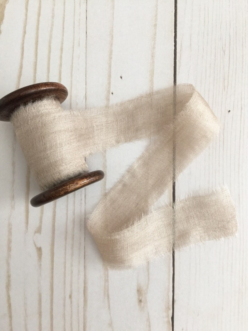 1 x 5 yards TAUPE Plant Dyed Silk Ribbon Hand Dyed image 0
