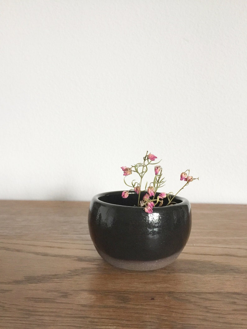 Small Ceramic Bowl Black Glossy Glaze Pottery Bud Vase image 0