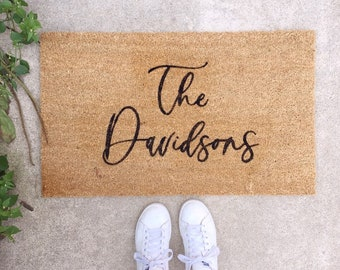 Custom Doormat- Last Name Doormat, Welcome Mat, Realtor Closing Gift, Custom Wedding Gift, Personalized Doormat, Housewarming Gift