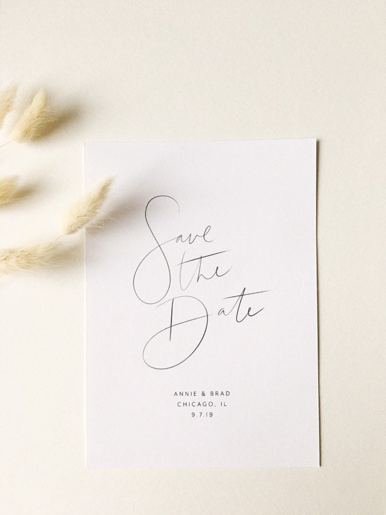 Wedding Invitations Minimalist Save the Date Save the Date Calligraphy Save the Date Modern Save the Date