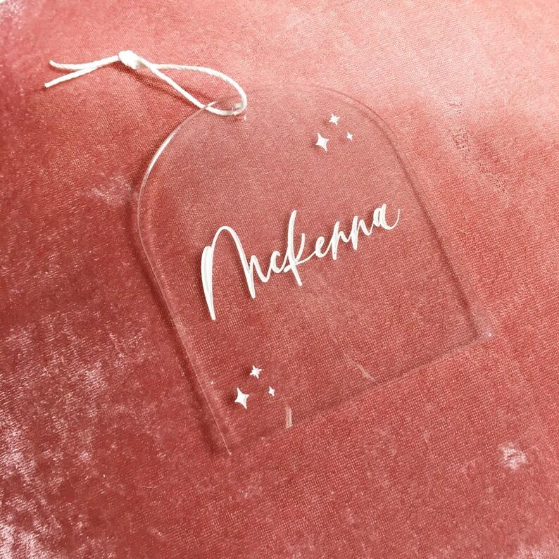Custom Ornament Acrylic Stocking Tag Name ornament Personalized Ornament Engraved Ornament Acrylic Ornament