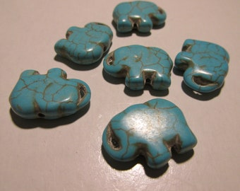 f0be88e53 Turquoise Blue Howlite Elephant Beads, 20mm, Set of 2