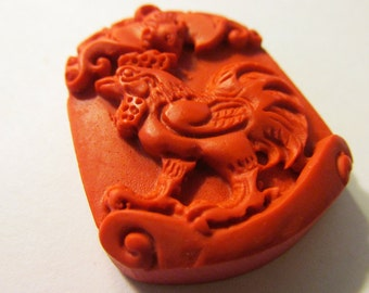 """Chinese Red Cinnabar Rooster and Money Bat Pendant, 1 1/2"""""""