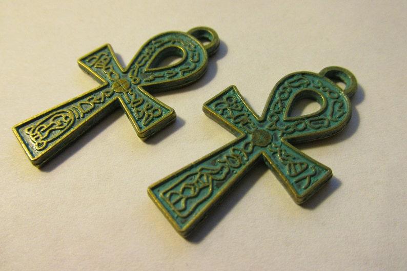 Set of 2 1 12 Egyptian Ankh Pendant with Blue-Green Patina Finish