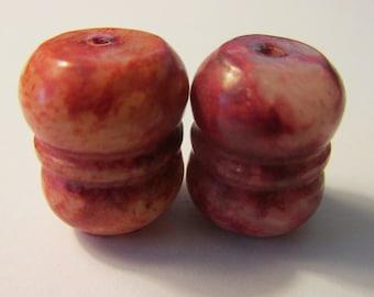 Red-Veined Yellow Jade Drum Barrel Beads, 20mm, Set of 2