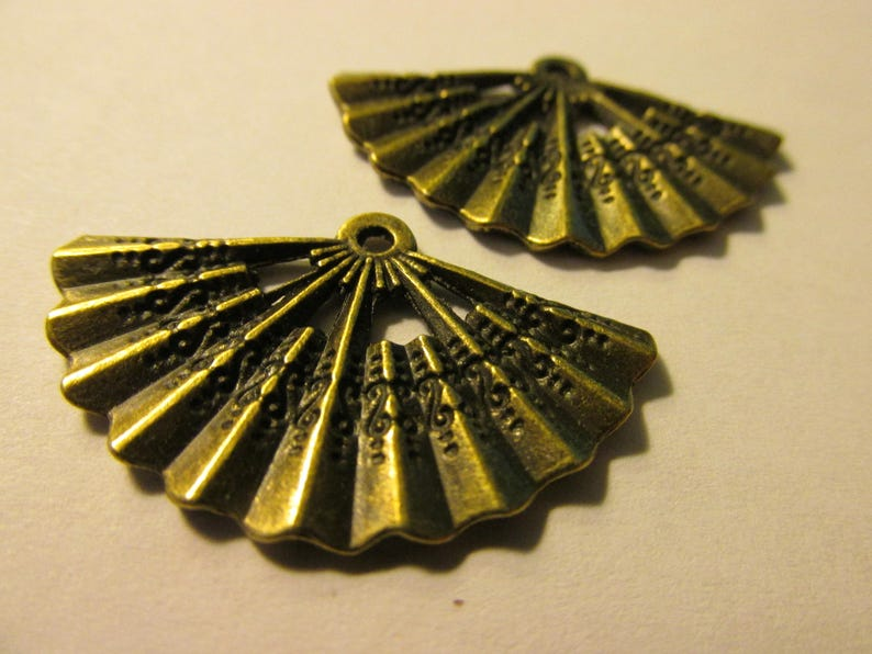 Set of 2 1 14 Bronze Tone Metal Japanese Fan Charm-Pendant