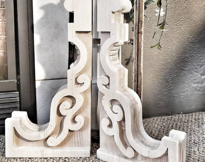 St. Louis Corbels Pair Modern Farmhouse Shabby Chic Architectural Salvage Shelf Brackets Wood Rustic Christmas Gift Decorative Fixer Upper
