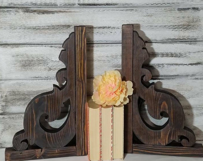 ANTIQUE PARIS Corbels, Pair, Wood, Rustic Shelf Brackets, Bookend Modern Farmhouse, Decor Distressed Custom, Handmade Christmas Wall Decor