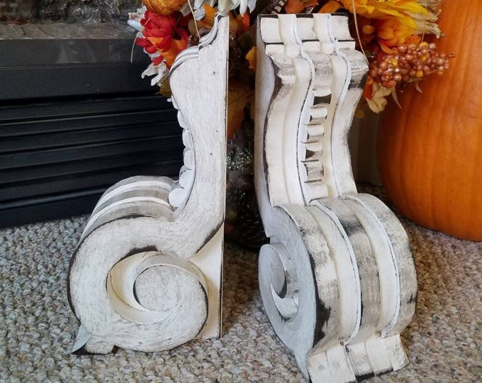 MANTEL Corbels, Pair, Wood Antique Modern Farmhouse Cottage Wooden Bookend Rustic Shelf Brackets Architectural Salvage Christmas gift Mantle