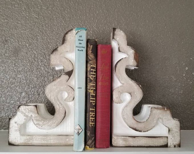 SMALL Corbels, Pair Wood, Rustic, Shelf Brackets, Bookends, Modern Farmhouse Decor, Distressed, Custom, Handmade Shabby Chic, Christmas Gift