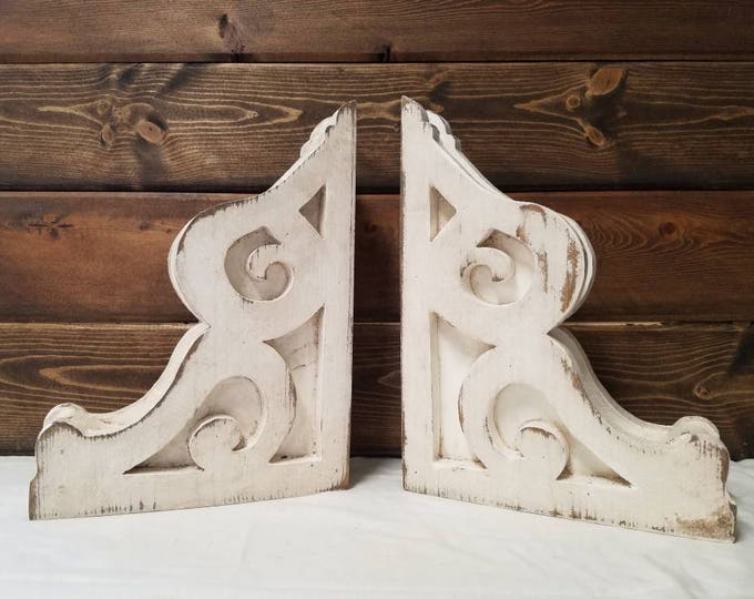 BOOKEND Corbels, Pair, Wood, Rustic Architectural Antique, Distressed Modern Farmhouse Shelf Brackets Handmade Custom Decor Christmas Gift