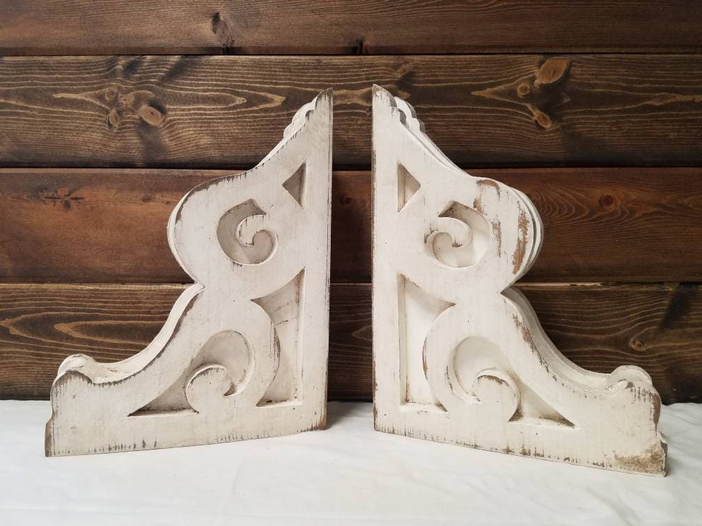 Bookend Corbels Pair Wood Rustic Architectural Antique