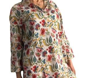 Cotton Womens Knee Length Kurta Shirt - Hand Block Print