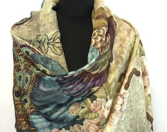 Digital Print Cashmere & Silk Blend Stole/Wrap