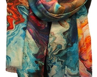 Digital Print Cashmere & Silk Blend Large Shawl