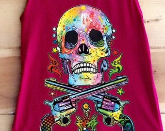 Neon Skull With Pistols Womens Tank Top, Ladies Tank Top, Skull Tank Top, Gifts For Her, Loose Fitting Tank Top, Cute Tank Top