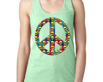 601dbf5075d Tye Dye Peace Sign With Skulls Womens Tank Top, Ladies Tank Top, Loose  Fitting Tank Top, Hippie Tank Top, Gifts For Her