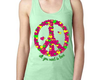 c04a038f4e8fda All You Need Is Love Peace Sign Womens Tank Top