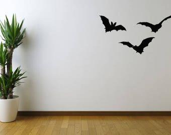 Flying Bat Silhouette Wall Sticker Decal Animal Halloween Bedroom Vinyl UK