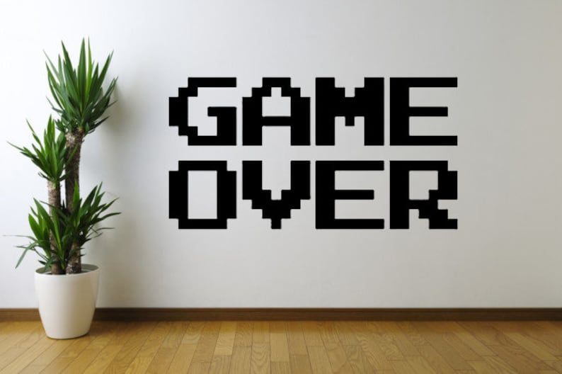Game Over Vinyl Wall Decal Sticker Wall Decal Wall Art Wall Etsy