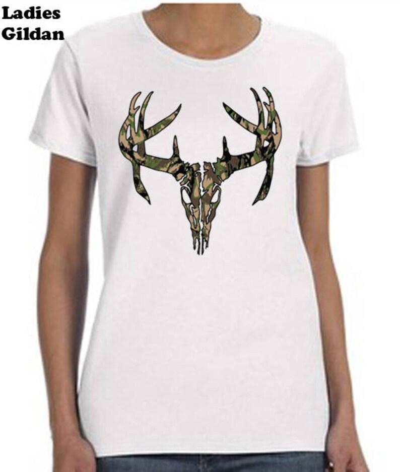 d309382a85ca Camo Deer Skull T-Shirt Hunter Tee Shirt Cool Tee Shirt | Etsy