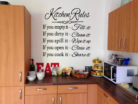 Kitchen Rules Vinyl Wall Decal Sticker Home Living Vinyl Etsy