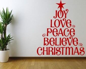 Joy, Love, Peace, Believe, Christmas Vinyl Wall Decal, Christmas Wall Art, Christmas Wall Decor, Christmas Window Sticker, Holiday Vinyl