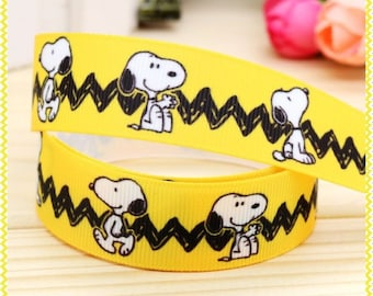 Snoopy Ribbon, Grosgrain Ribbon, Cute Ribbon, Cartoon Ribbon, Hairbows, Scrapbooking Embellishment,Peanuts, Charlie Brown