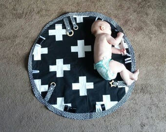 Black and White Monochrome Plus Sign Swiss Cross Ultra Modern Gender Neutral Baby Tummy Time Activity Mat