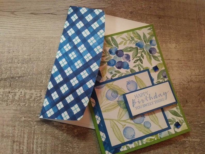 Four Blueberry Themed Handmade Cards With Decorative Envelopes Various Greetings with Blank Insides READY TO SHIP!