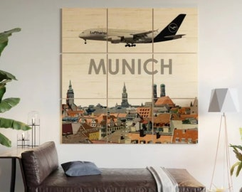 Airbus A321 over Charlotte Multi-Piece Wood Wall Art
