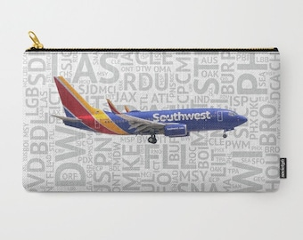 c35425da52db Southwest Airlines 737 with Airport Codes - Carry-All Pouch