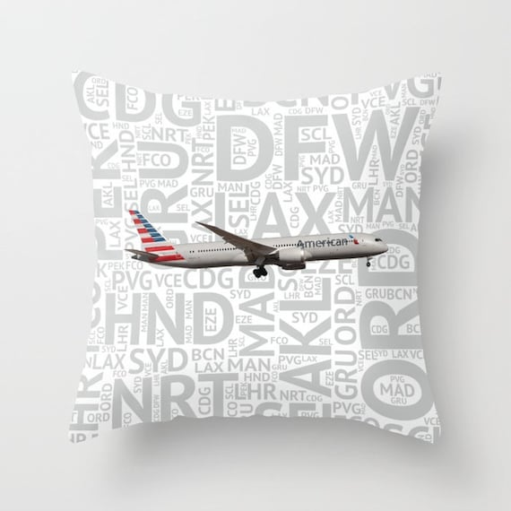 United Airlines 787 with Airport Codes Throw Blanket