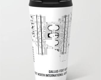Dallas-FT Worth International Airport (DFW) - Metal Travel Mug