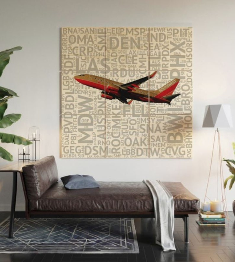Southwest Airlines Boeing 737 (Classic Livery) with Airport Codes -  Multi-Piece Wood Wall Art