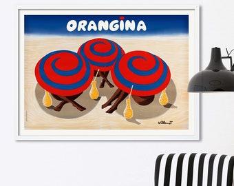 Vintage Advertising Poster by Villemot A4A3 FramedUnframed Orangina