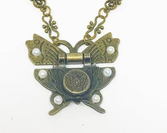 Re-Purposed Jewelry, Butterfly Necklace Vintage Jewelry