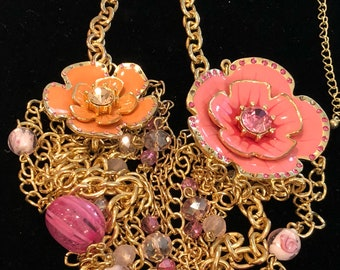 Flower Power Multi-Strand Chain Statement Necklace ~ Shades of Pink