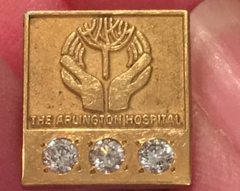 Diamond Studded The Arlington Hospital 10k GF Pin or Tie Tack