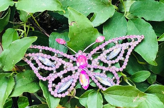 Huge Butterfly Brooch ~ Pink & Blue Rhinestones