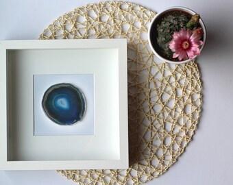 Framed Agate Slice - Geode - Home Decor - BLACK or WHITE shadow box (10x10)