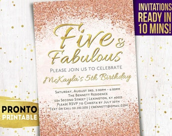 5th Birthday Invitation Five And Fabulous Invitations Invite Fifth Party Pink Gold