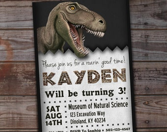 Dinosaur Invitation Birthday Party T Rex Invitations