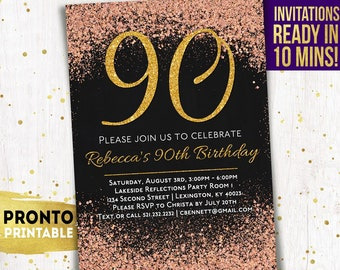90th Birthday Invitations Printable Party Invitation Invite For Women