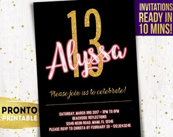 13th Birthday Invitations For Girls Pink And Gold Invites 14th 15th 16th 21st 10th Printable Neon Glow